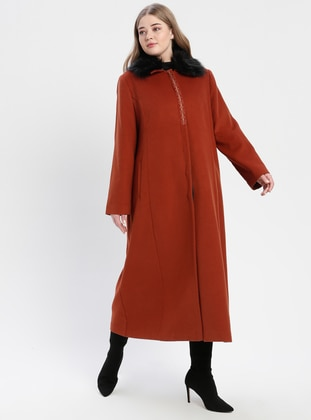 Terra Cotta - Fully Lined - Point Collar - Plus Size Coat - TUĞBA