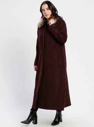 Plum - Fully Lined - Point Collar - Plus Size Coat