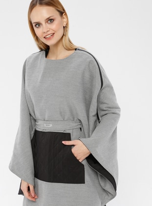 Gray - Crew neck - Fully Lined - Poncho
