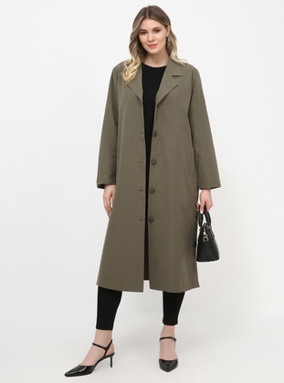 Khaki - Unlined - Shawl Collar - Plus Size Coat - Alia