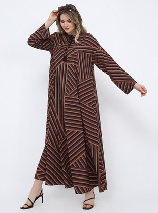 Multi - Ethnic - Unlined - Crew neck - Plus Size Dress