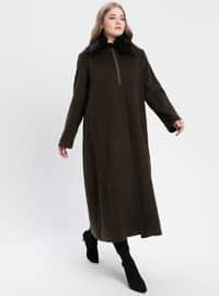 Khaki - Fully Lined - Point Collar - Plus Size Coat