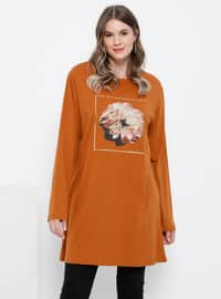 Tan - Crew neck - Cotton - Plus Size Tunic