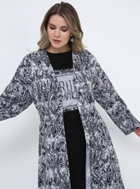 Black - Floral - Unlined - Shawl Collar - Plus Size Coat