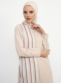 Beige - Stripe - Crew neck - Unlined - Cotton - Dress