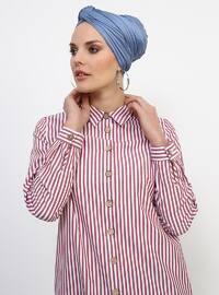 Maroon - Maroon - Stripe - Stripe - Point Collar - Point Collar - Cotton - Cotton - Tunic