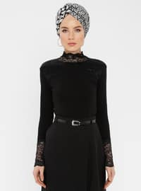 Black - Polo neck - Blouses