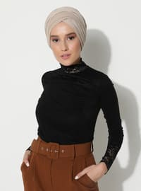 Black - Black - Polo neck - Blouses
