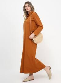 Tan - Unlined - Point Collar - Cotton - Plus Size Dress