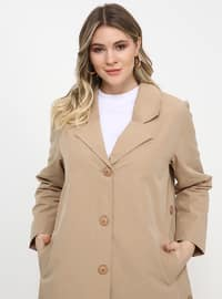 Beige - Unlined - Shawl Collar - Plus Size Coat
