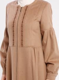 Camel - Fully Lined - Crew neck - Coat