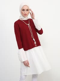 Maroon - Crew neck - Cotton - Tunic