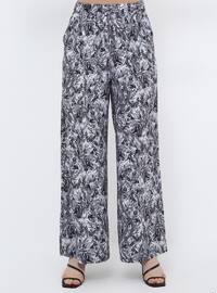 Black - Floral - Plus Size Pants