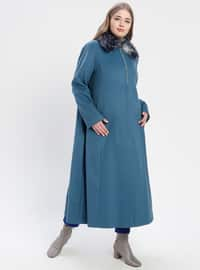 Blue - Fully Lined - Point Collar - Plus Size Coat