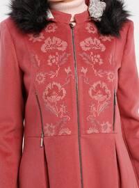 Dusty Rose - Fully Lined - Crew neck - Coat