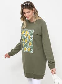 Khaki - Multi - Crew neck - Plus Size Tunic