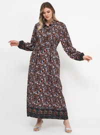 Brown - Shawl - Fully Lined - Crew neck - Plus Size Dress