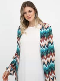 Green - Geometric - Stripe - Unlined - Plus Size Coat