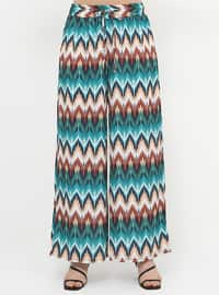 Green - Geometric - Stripe - Plus Size Pants