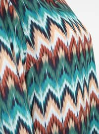 Stripe - Green - Crew neck - Geometric - Stripe - Crew neck - Plus Size Tunic
