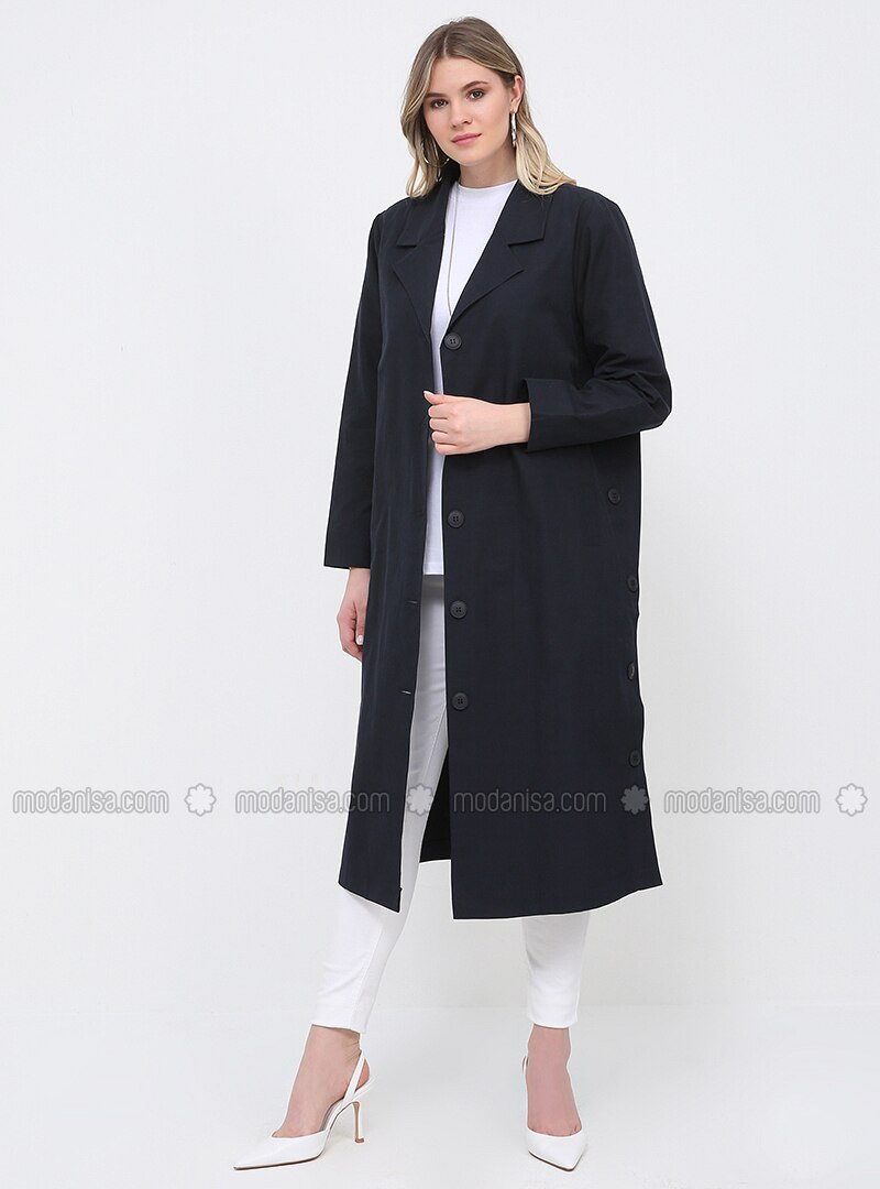Navy Blue - Unlined - Shawl Collar - Plus Size Trench coat