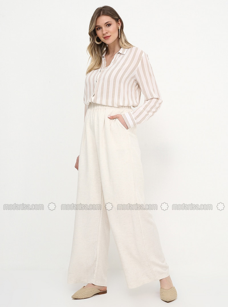 White - Ecru - Viscose - Plus Size Pants