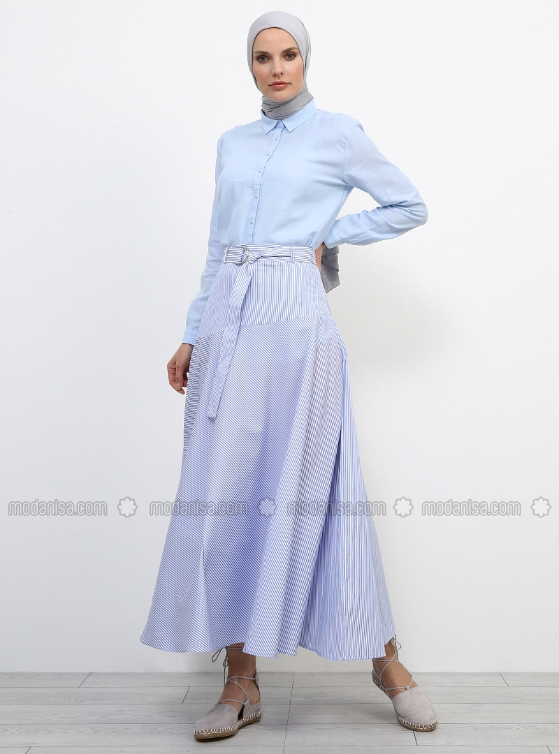 Blue - Baby Blue - Stripe - Unlined - Cotton - Skirt