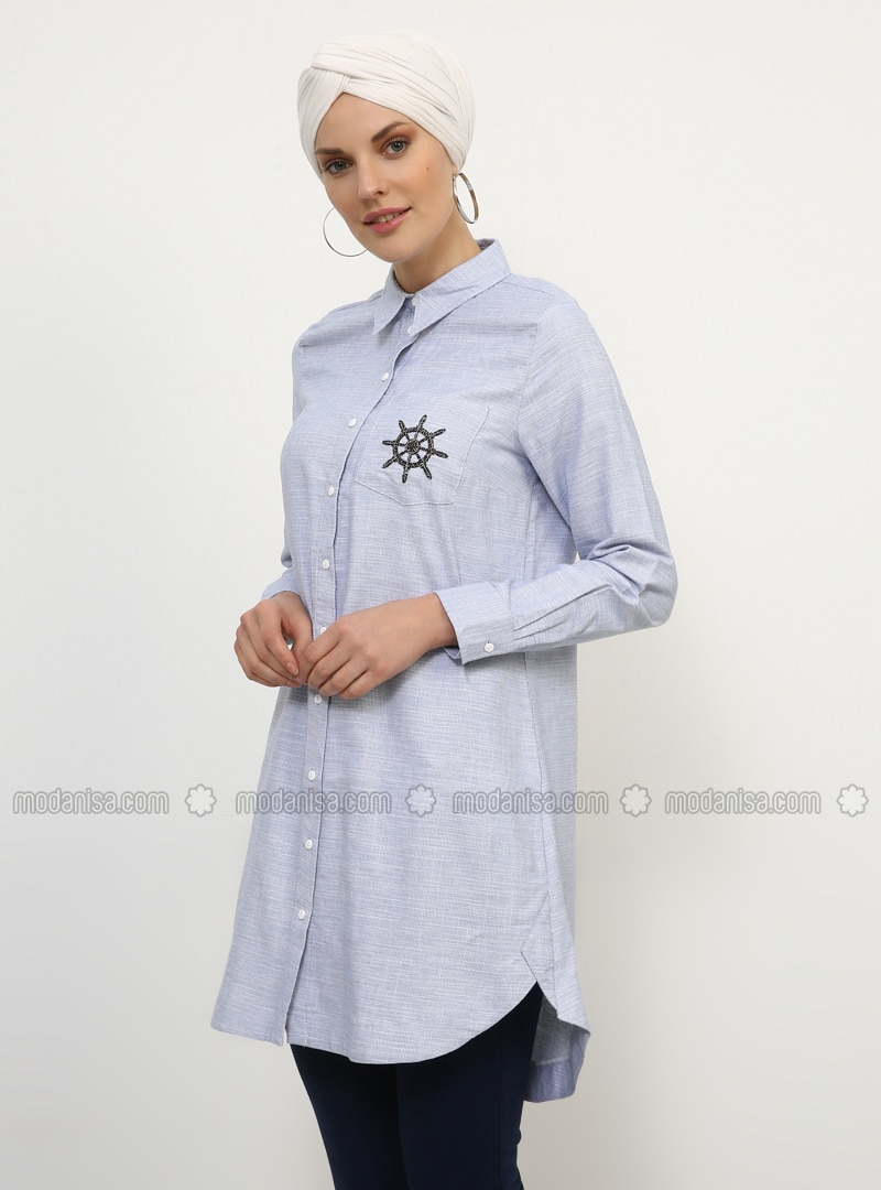 Blue - Navy Blue - Point Collar - Cotton - Tunic