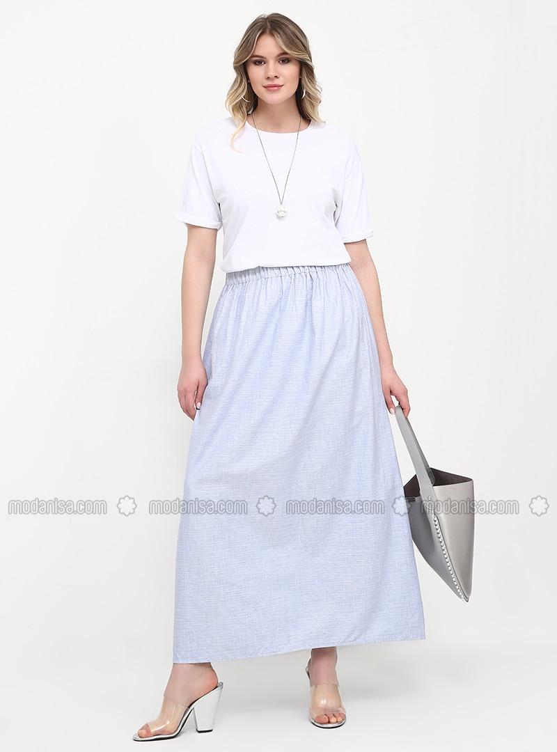 Blue - Unlined - Cotton - Plus Size Skirt