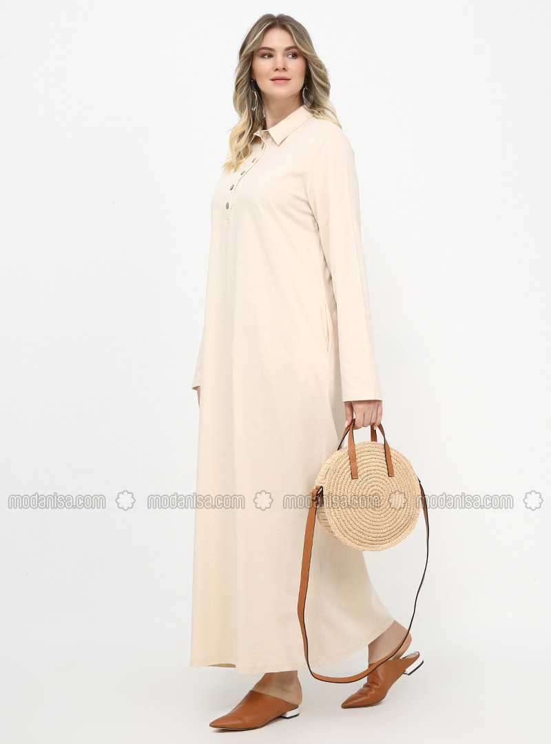 - Unlined - Point Collar - Cotton - Plus Size Dress