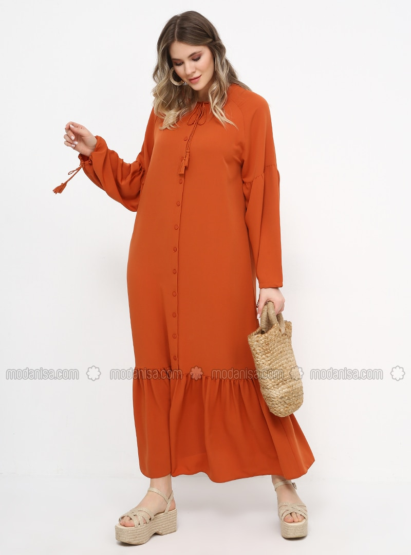 Tan -  - Unlined - Crew neck - Plus Size Dress