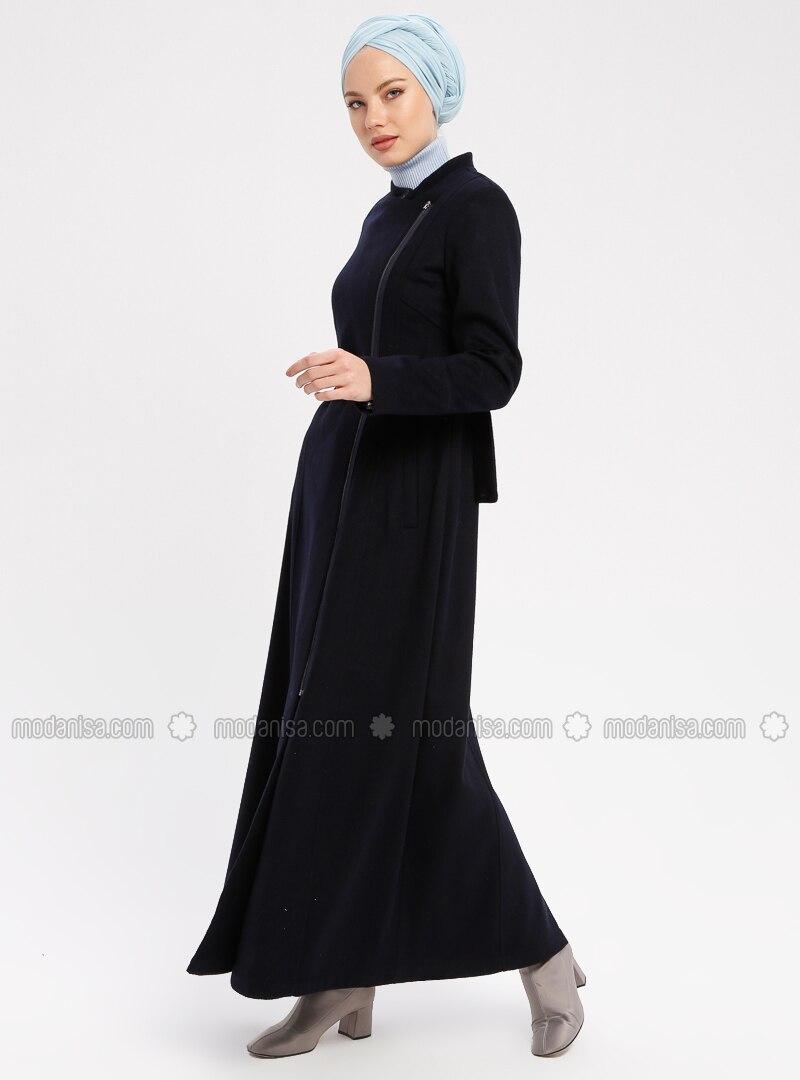 Navy Blue - Unlined - Button Collar - Coat