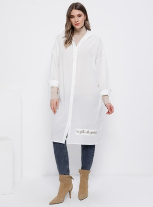 White - Point Collar - Cotton - Plus Size Tunic