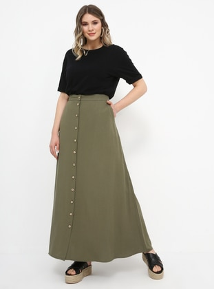 Khaki - Unlined - Linen - Viscose - Plus Size Skirt