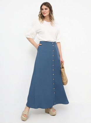 Blue - Navy Blue - Indigo - Unlined - Linen - Viscose - Plus Size Skirt