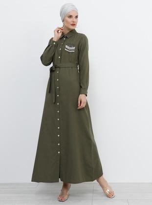 Khaki - Point Collar - Unlined - Cotton - Dress