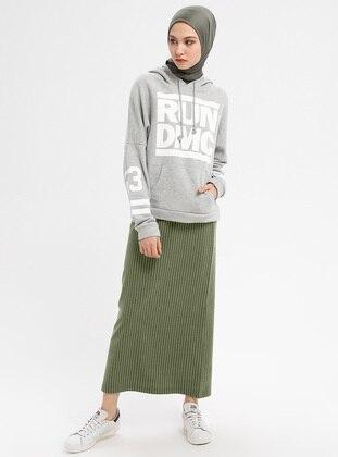 Khaki - Stripe - Unlined - Viscose - Skirt