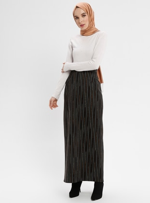 Black - Stripe - Unlined - Skirt