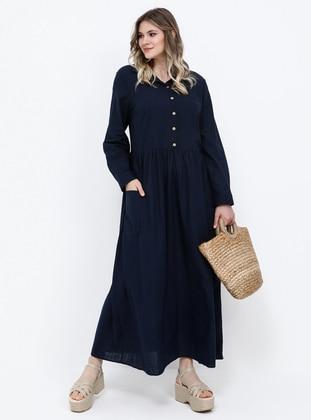 Navy Blue - Unlined - Point Collar - Cotton - Plus Size Dress - Alia