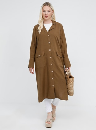 Brown - Shawl Collar - Unlined - Cotton - Linen - Plus Size Jacket