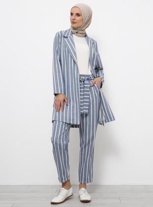 Blue - Baby Blue - Stripe - Cotton - Viscose - Pants