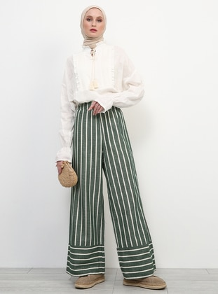 Khaki - Stripe - Cotton - Culottes