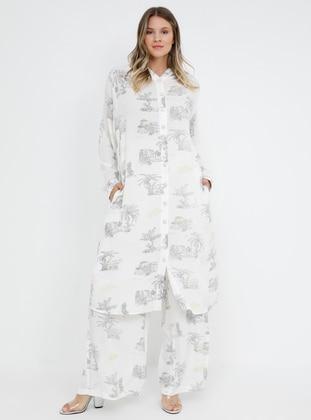 White - Gray - Ecru - Viscose - Plus Size Tunic