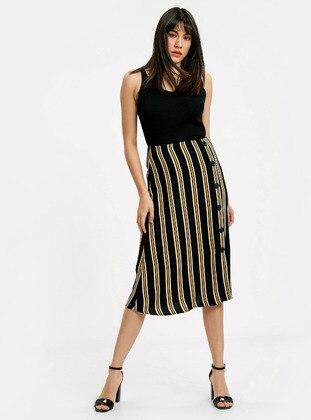 Black - Printed - Skirt