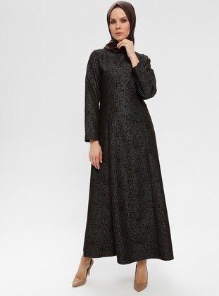 Black - Multi - Crew neck - Unlined - Dress