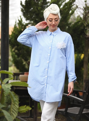 Blue - Checkered - Point Collar - Tunic
