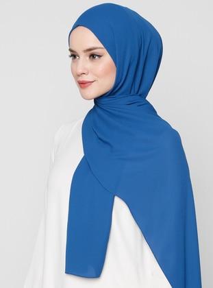 Blue - Plain - Crepe - Shawl