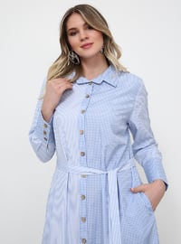 Blue - Checkered - Unlined - Point Collar - Plus Size Dress