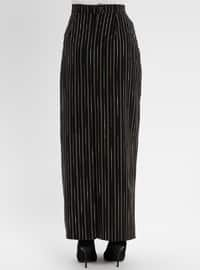 Black - Stripe - Unlined - Skirt