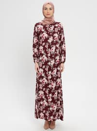 Maroon - Multi - Crew neck - Unlined - Viscose - Dress - BAGİZA